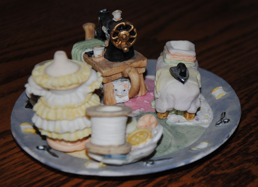 Miniature Sewing Themed tea set